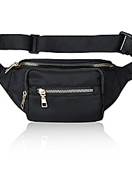cheap -black fanny pack for women men - waterproof fashion waist pack bag with adjustable strap for travel sports hiking running