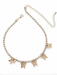 cheap -tennis choker butterfly necklace luxury iced out bling bling cubic zirconia rhinestone girls necklace with 4mm tennis chain dainty diamond jewelry for women-gold