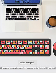 cheap -Small Fresh Macaron Color Wireless Keyboard and Mouse Set Girls Lovely Chocolate Silent Infinite Color Keyboard