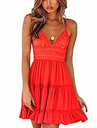 cheap -women's spaghetti strap v neck swing mini dress sleeveles solid lace patchwork short dress red