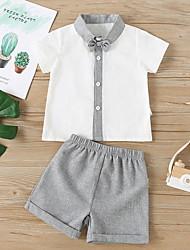 cheap -2 Pieces Baby Boys' Basic Color Block Bow Short Sleeve Regular T-shirt & Shorts Clothing Set Gray
