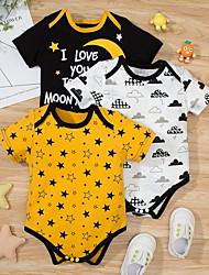 cheap -3 Pack Baby Boys' Basic Geometric Letter Print Short Sleeves Romper Yellow