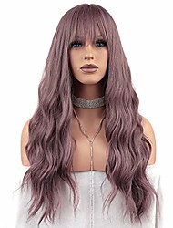 cheap -halloweencostumes fraysmi long wavy wig air bangs silky full heat resistant synthetic wig for women hair replacement wig for party cosplay body wavy (milky lavender)