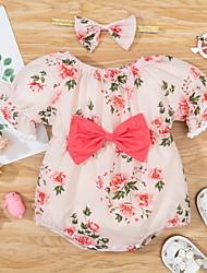 cheap -Baby Girls' Basic Floral Bow Print Short Sleeves Romper Blushing Pink