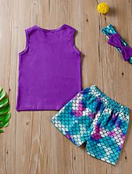 cheap -Baby Girls' Active Print Print Sleeveless Regular Regular Clothing Set Purple