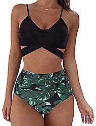 cheap -Women's Bikini 2 Piece Swimsuit Push Up Solid Color Leaf figure 1 figure 2 image 3 Figure 4 Figure 5 Swimwear Bathing Suits New Vacation Fashion / Padded Bras / Beach