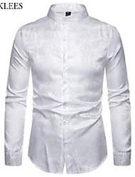 cheap -mens casual luxury print dress shirts brand mandarin collar paisley jacquard slim shirt party wedding club social shirt white 210522