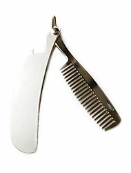 cheap -Portable Small Comb Stainless Steel Folding Comb Oil Hair Comb Travel Men's Beard Comb Styling Tool Beard Comb