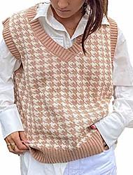 cheap -women's sweater vests v neck argyle print sleeveless knitted tank pullover tops (plaid khaki, medium)