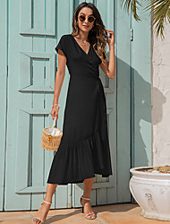cheap -amazon european and american cross-border women's summer new products v-neck tie irregular simple slim dress a1056