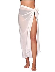 cheap -Women's Cover Up Swimsuit Lace Solid Color Long-orange Long lace-white Long-yellow Long lace-scarlet Long lace-pink Swimwear Bathing Suits New