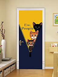 """cheap -2pcs Self-adhesive Creative Cat Door Stickers Hiding In Clothes For Living Room Diy Decorative Home Waterproof Wall Stickers 30.3""""x78.7""""(77x200cm), 2 PCS Set"""