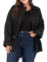 cheap -Women's Plus Size Coat Elastic Drawstring Design Plain Work Long Sleeve Round Neck Long Fall & Winter Black XL XXL 3XL 4XL