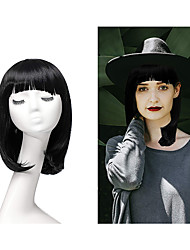 cheap -halloweencostumes Wave Wig Black Shawl Short Hair Wig with Air Bangs for Women Synthetic Girls Bob Wig for Daily Party Cosplay Curly Hair Wavy Heat Resistant Natural
