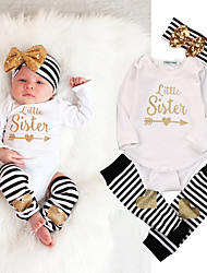 cheap -Baby Girls' Basic Striped Long Sleeve Regular Clothing Set White
