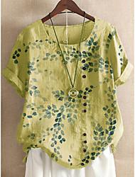 cheap -Women's Plus Size Tops Blouse Shirt Leaf Short Sleeve Round Neck Spring Summer Light Yellow White Sky Blue Big Size L XL XXL XXXL 4XL / Cotton / Cotton