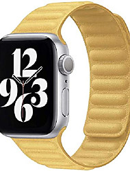 cheap -smartwatch band  compatible with apple watch strap 38mm 40mm 42mm 44mm, strongly magnetic adjustable leather strap with flexibly shaped magnets for iwatch series se / 6/5/4/3/2/1 (42 / 44mm yellow)