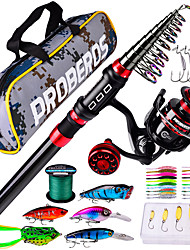 cheap -Fishing Rod and Reel Combo Telescopic Rod 180/210/240/270 cm Carbon Fiber Portable Lightweight Freshwater and Saltwater Sea Fishing