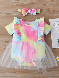 cheap -Baby Girls' Romper Active Cotton Green Print Short Sleeves