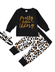 cheap -Baby Girls' Active Leopard Print Long Sleeve Regular Regular Clothing Set Black