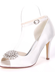 cheap -Women's Wedding Shoes Stiletto Heel Peep Toe Satin Rhinestone Solid Colored White Red Champagne