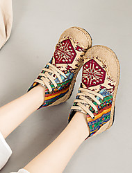 cheap -Women's Flats Flat Heel Round Toe Canvas Lace-up Floral Light Red Blue