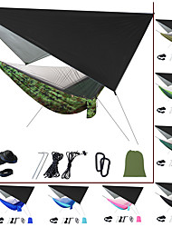 cheap -Camping Hammock with Mosquito Net Hammock Rain Fly Outdoor Portable Sunscreen Anti-Mosquito Ultra Light (UL) Breathable Parachute Nylon with Carabiners and Tree Straps for 2 person Camping / Hiking