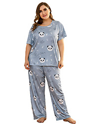 cheap -hc280 european and american plus size summer short-sleeved trousers pajamas suit knitted cotton ladies home service printing two-piece suit