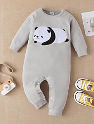 cheap -Baby Boys' Basic Print Long Sleeve Cotton Romper White
