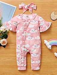 cheap -Baby Girls' Active Print Print Short Sleeves Romper Blushing Pink