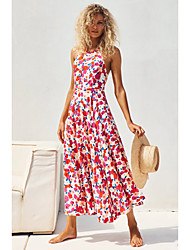 cheap -Women's Strap Dress Maxi long Dress Rose red leaves Small white red flowers Green Sleeveless Solid Color Summer Casual / Daily 2021 S M L XL