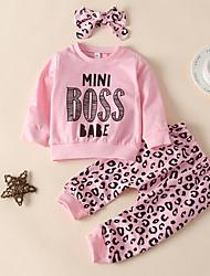 cheap -Baby Girls' Active Leopard Print Long Sleeve Regular Regular Clothing Set Blushing Pink