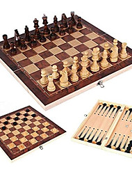 """cheap -15"""" Chess Board Game Set, 3 in 1 Folding Wooden Game Board Travel Chess Board Game Sets, Fast Sling Puck Game, Foldable Desktop Slingshot Hockey Game,Kids and Adult Tabletop Curling Game"""