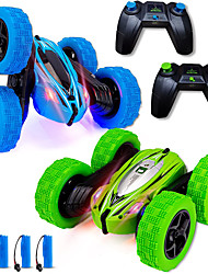 cheap -2 Pack Remote Control Car 4WD Adults Kids RC Stunt Cars 2.4Ghz Double Sided 360°Rotating Monster Race Trucks Toys with Led Lights Gifts for 3 5 6 7 8 12Year Old Boys Girls, Blue+Green
