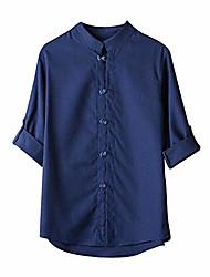 cheap -mens t shirts,mens shirts men classic chinese style kung fu shirt tops tang suit 3/4 sleeve blouse navy