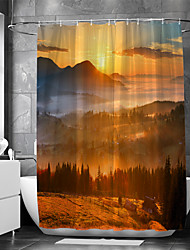 cheap -Shower Curtain With Hooks Suitable For Separate Wet And Dry Zone Divide Bathroom Shower Curtain Waterproof Oil-proof Modern and  Landscape
