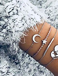 cheap -ajacry boho layered beaded bracelet silver star and moon hand chains hollowed out love map chain bracelet jewelry for women and girls