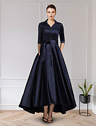 cheap -A-Line Mother of the Bride Dress Elegant Jewel Neck Asymmetrical Chiffon Lace Short Sleeve with Pleats Appliques 2021