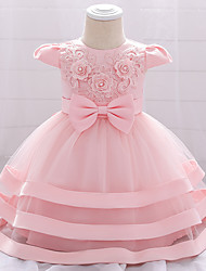 cheap -Baby Girls' Basic Butterfly Solid Colored Beaded Embroidered Mesh Short Sleeve Knee-length Flower Tulle Dress Blushing Pink Wine Dusty Rose
