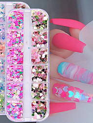 cheap -12 Lattice Laser Heart Nail Sequins Accessories For DIY Art Decoration Fashion Nail Supplies For Professionals