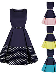 cheap -Audrey Hepburn Retro Vintage 1950s Vacation Dress Prom Dresses Summer A Line Dress Tea Dress Prom Dress Women's Costume Yellow / Blushing Pink / Blue Vintage Cosplay Party Homecoming Prom Sleeveless