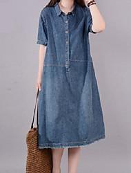 cheap -Women's A Line Dress Knee Length Dress Denim Blue Short Sleeve Solid Color Summer Casual 2021 L code (recommended 120-135 kg) 2XL code (recommended 145-165 kg) XL code (135-145 kg) M code / Cotton