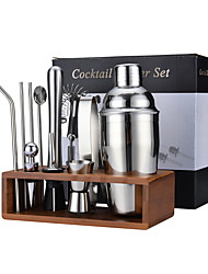 cheap -13-Piece Cocktail Shakers Set Bartender Kit Professional Bar Tools with Bamboo Stand Drink Mixing Recipe Guide Home Kitchen Bar Essentials Set Accessories Barware Set for Party Travel