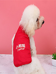 cheap -Dog Vest Dog Costume Quotes & Sayings Text / Number Leisure Adorable Dailywear Casual / Daily Dog Clothes Puppy Clothes Dog Outfits Breathable Red Costume for Girl and Boy Dog Polyester XS S M L XL