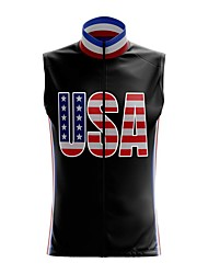 cheap -21Grams Women's Sleeveless Cycling Jersey Summer Spandex Polyester Black American / USA National Flag Bike Jersey Top Mountain Bike MTB Road Bike Cycling Breathable Back Pocket Sports Clothing Apparel