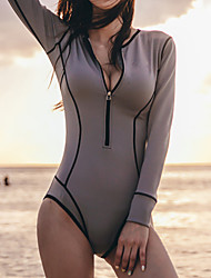 cheap -Women's Rash Guard Diving Swimsuit Tummy Control Push Up Solid Color Gray Swimwear Padded High Neck Bathing Suits New Casual Sexy / Holiday / Padded Bras / Beach
