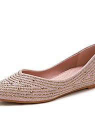 cheap -Women's Flats Hidden Heel Pointed Toe Polyester Rhinestone Black Pink Gold