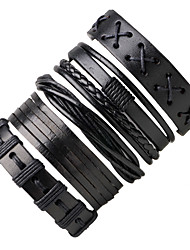 cheap -five-piece leather bracelet bracelet men's jewelry
