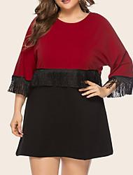 cheap -Women's Plus Size Dress A Line Dress Short Mini Dress 3/4 Length Sleeve Color Block Casual Summer Red XL XXL 3XL 4XL 5XL