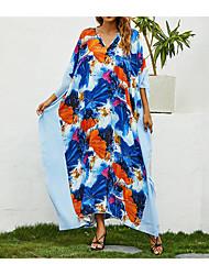 cheap -Women's A Line Dress Maxi long Dress Sky Blue Long Sleeve Pattern Summer Casual 2021 One-Size / Cotton / Plus Size / Plus Size / Cotton